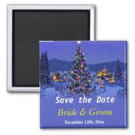 Vintage Christmas tree wedding save the date Refrigerator   Magnet