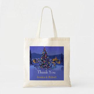 Vintage Christmas tree  wedding thank you Canvas Bag