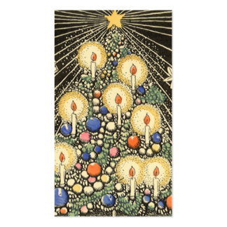 Vintage Christmas, Tree with Candles and a Star Double-Sided Standard Business Cards (Pack Of 100)