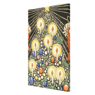 Vintage Christmas, Tree with Candles and a Star Canvas Print