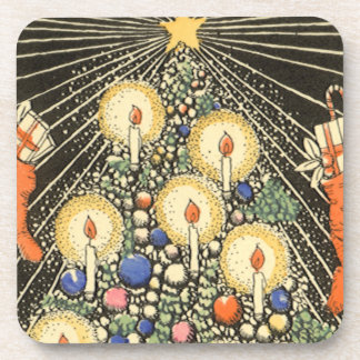 Vintage Christmas, Tree with Candles and a Star Coaster