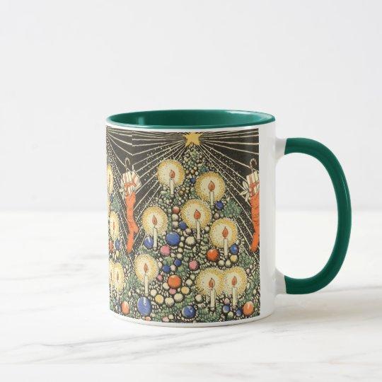 Vintage Christmas, Tree with Candles and a Star Mug