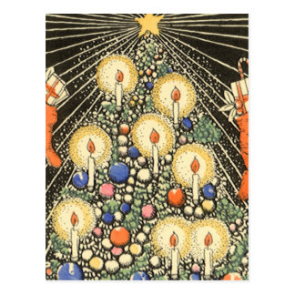 Vintage Christmas, Tree with Candles and a Star Postcard