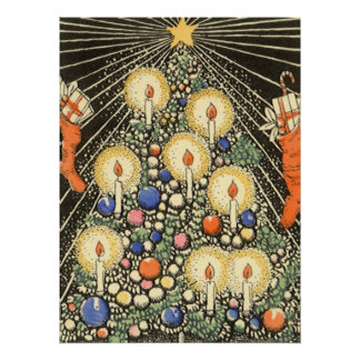 Vintage Christmas, Tree with Candles and a Star Poster