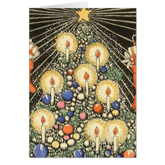 Vintage Christmas, Tree with Candles and Star Greeting Card