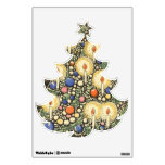 Vintage Christmas, Tree with Candles and Star Wall Graphic