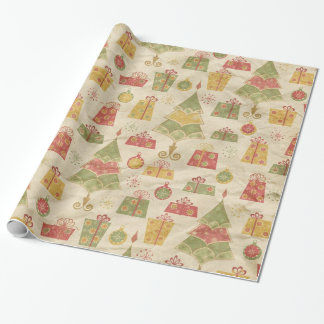 Vintage Christmas Trees and Gifts Wrapping Paper