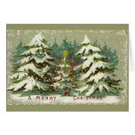 Vintage Christmas Trees Greeting Cards