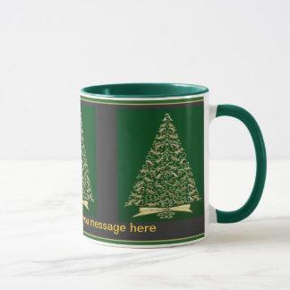 Vintage Christmas Trees in Green & Gold Mug