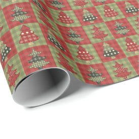 Vintage Christmas Trees Quilt Pattern Wrapping Paper