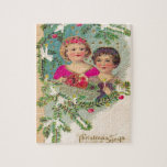 Vintage Christmas, two girls and a tree Puzzle
