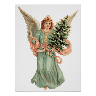 Vintage Christmas Victorian Angel Candle Tree Posters