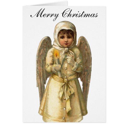 Vintage Christmas Victorian Angel Card
