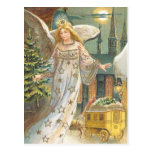 Vintage Christmas Victorian Angel Church Tree Moon Post Card