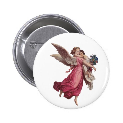 Vintage Christmas, Victorian Angel Holding a Child Button
