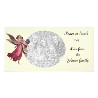 Vintage Christmas, Victorian Angel Holding a Child Card