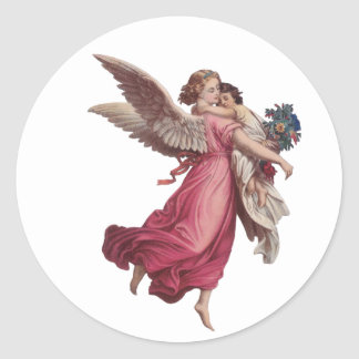 Vintage Christmas, Victorian Angel Holding a Child Classic Round Sticker
