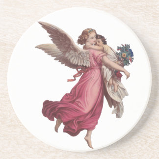 Vintage Christmas, Victorian Angel Holding a Child Drink Coaster
