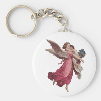 Vintage Christmas, Victorian Angel Holding a Child Keychain