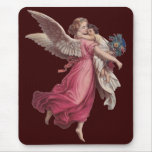 Vintage Christmas, Victorian Angel Holding a Child Mouse Pad