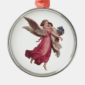 Vintage Christmas, Victorian Angel Holding a Child Round Metal Christmas Ornament