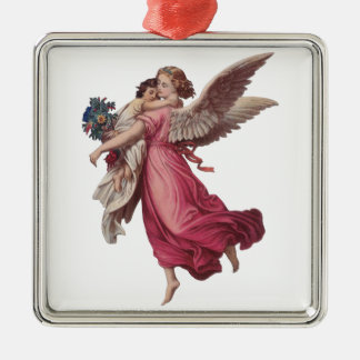 Vintage Christmas, Victorian Angel Holding a Child Ornament