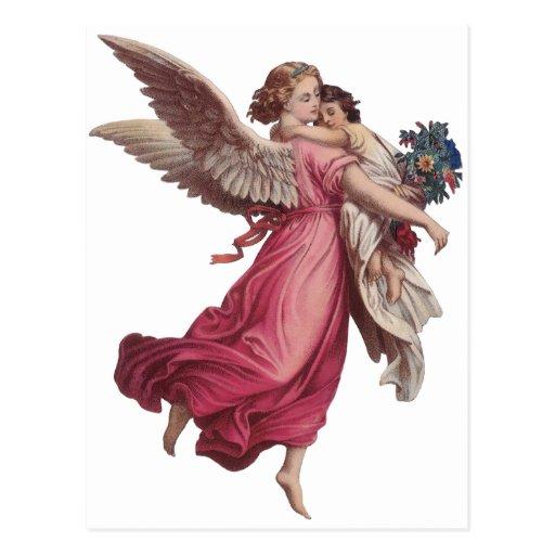 Vintage Christmas, Victorian Angel Holding a Child Postcard