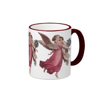 Vintage Christmas, Victorian Angel Holding a Child Ringer Coffee Mug