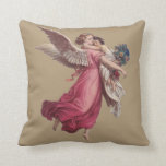 Vintage Christmas, Victorian Angel Holding a Child Throw Pillow