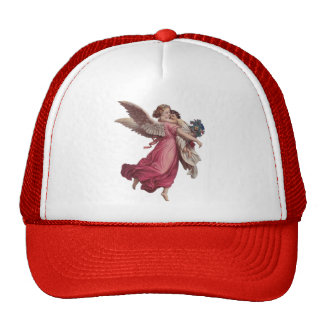 Vintage Christmas, Victorian Angel Holding a Trucker Hat