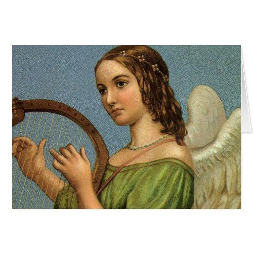 Vintage Christmas Victorian Angel Music Harp Greeting Card