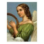 Vintage Christmas Victorian Angel Music Harp Postcard