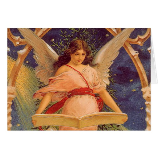 Vintage Christmas, Victorian Angel Reading Bible Card