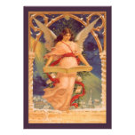 Vintage Christmas, Victorian Angel Reading Bible Personalized Invites