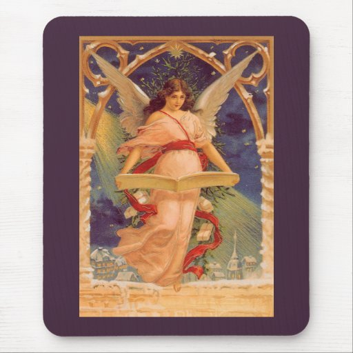 Vintage Christmas, Victorian Angel Reading Bible Mousepads