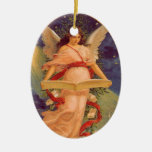 Vintage Christmas, Victorian Angel Reading Bible Christmas Tree Ornament
