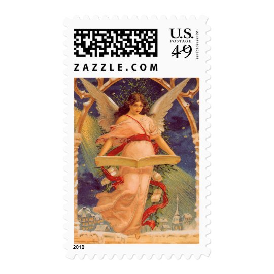 Vintage Christmas, Victorian Angel Reading Bible Postage Stamp