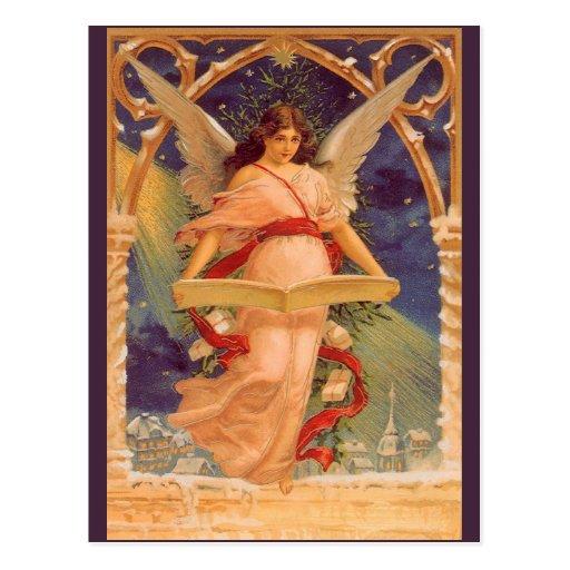 Vintage Christmas, Victorian Angel Reading Bible Postcards