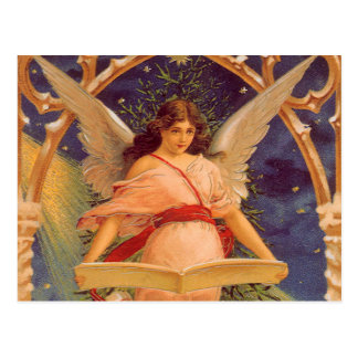 Vintage Christmas, Victorian Angel Reading Bible Post Card
