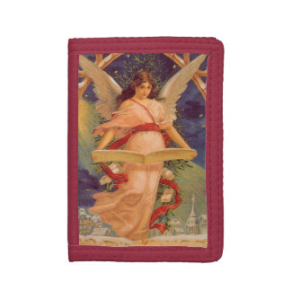 Vintage Christmas, Victorian Angel Reading Bible Tri-fold Wallet