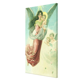 Vintage Christmas, Victorian Angel with Baby Jesus Canvas Print