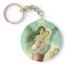 Vintage Christmas, Victorian Angel with Baby Jesus Keychain