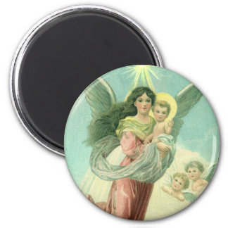 Vintage Christmas, Victorian Angel with Baby Jesus Magnet