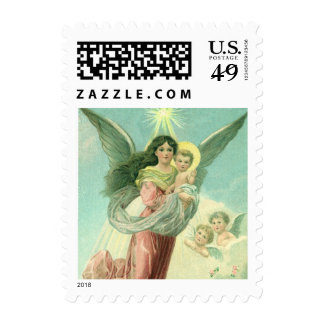 Vintage Christmas, Victorian Angel with Baby Jesus Postage