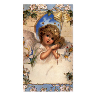Vintage Christmas, Victorian Angel with Gold Bells Double-Sided Standard Business Cards (Pack Of 100)