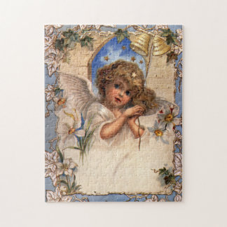 Vintage Christmas, Victorian Angel with Gold Bells Jigsaw Puzzle