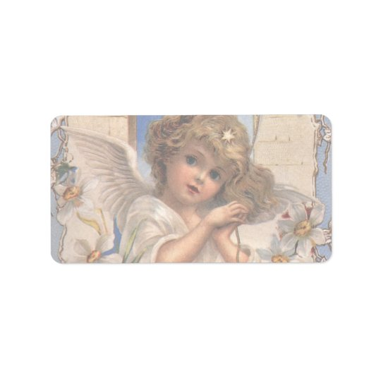 Vintage Christmas, Victorian Angel with Gold Bells Label