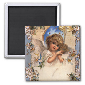 Vintage Christmas, Victorian Angel with Gold Bells Magnet