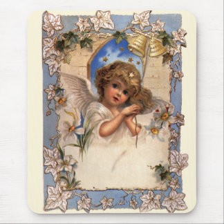 Vintage Christmas, Victorian Angel with Gold Bells Mouse Pad