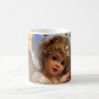Vintage Christmas, Victorian Angel with Gold Bells Classic White Coffee Mug